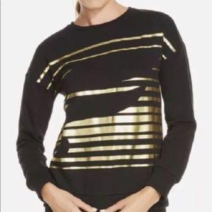 NWT Fabletics Snowshoe Pullover Medium Black Gold
